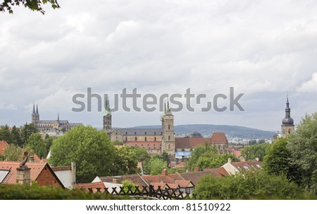 view to city bamberg with churches - stock photo
