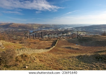 View to Coniston Water from Black Crag, Lake District, England - stock photo