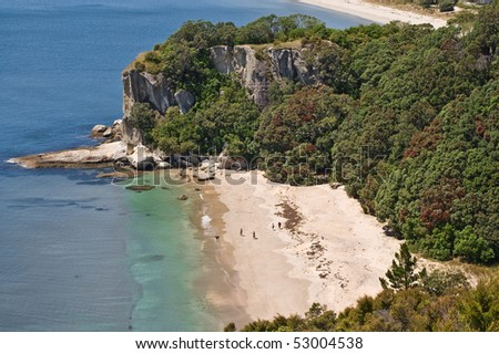 View to Cooks Beach from a viewing platform, New Zealand - stock photo