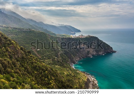 View to Corniglia - one of the villages in Cinque Terre (Italy) - stock photo