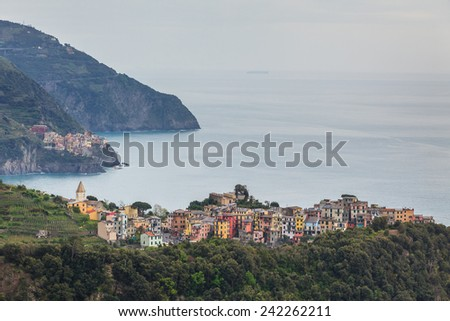 View to Corniglia - one of the villages in Cinque Terre,Italy - stock photo