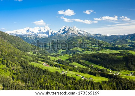view to Dachstein from the west, Upper Austria-Styria, Austria - stock photo