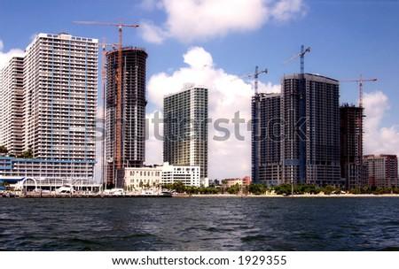 View to downtown brickell Miami - stock photo