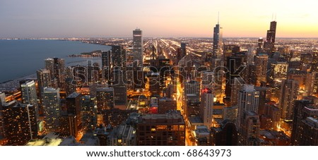 View to Downtown Chicago / USA from high above at twilight - stock photo