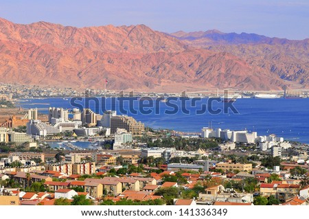 View to Eilat city, famous international resort - the southest city of Israel.  - stock photo