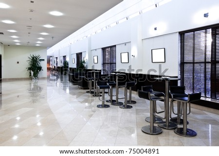 View to empty space of cafe-bar - stock photo