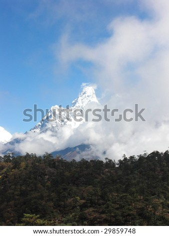 View to Everest the highest mountain in the world from within Nepal