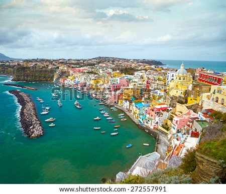 View to fishermanns village on the Island Procida near Naples, italy - stock photo