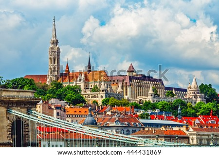 View to fishermans bastion castle and tower in budapest city hungary - stock photo