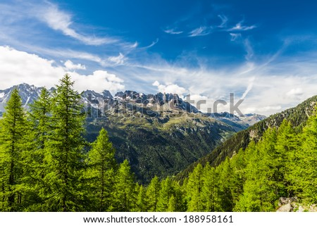 View to French Alps Valley under Mt. Blanc with Mer de Glace - Sea of Ice Glacier - stock photo