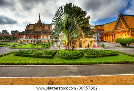 view to Garden and Royal Palace in Phnom Penh - Cambodia (HDR) - stock photo