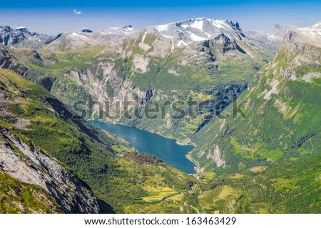 View to Geiranger fjord and eagle road from Dalsnibba mountain, Norway - stock photo
