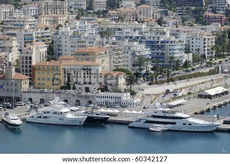 View to harbor and Port at Nice. Cote d'Azur. France. From Parc de la Colline du Chateau - stock photo