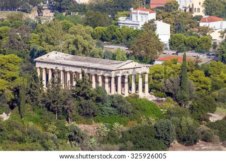 View to Hephaestus Temple from Acropolis, Athens, Greece - stock photo