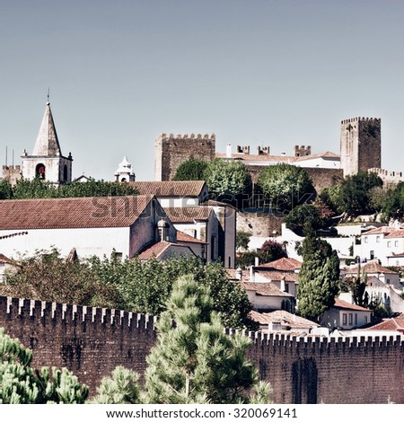 View to Historic Center City of Obidos, Portugal, Vintage Style Toned Picture