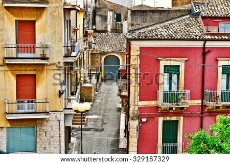 View to Historic Center City of Ragusa in Sicily, Vintage Style Toned Picture - stock photo