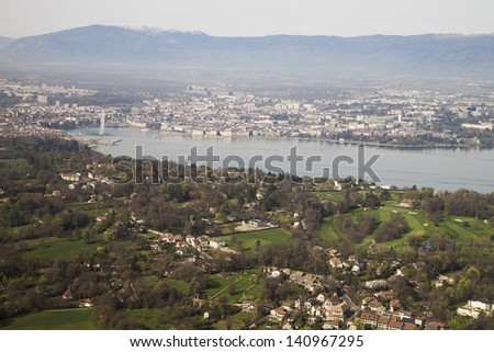 View to lake Geneva and Jet d'Eau - stock photo