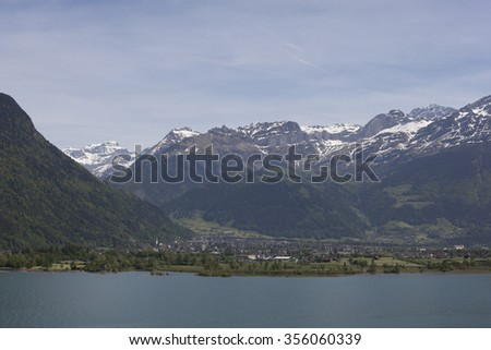 view to Lake Lucerne (Vierwaldstattersee) and mountain  - stock photo