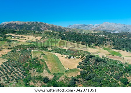 View to landscape Andalusian plains - stock photo