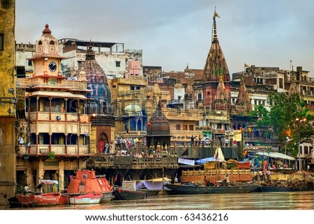 View to Manikarnika Ghat on Ganges river, Varanasi, India - stock photo