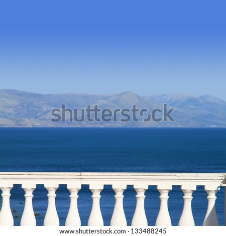 View to Mediterranean sea from a balcony - stock photo