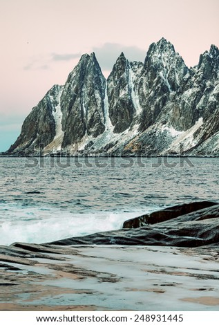 View to Mefjord on Senja island (Oksan on Background), Troms county - Norway - stock photo
