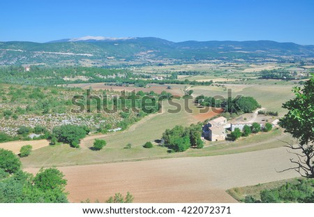 View to Mont Ventoux in Provence,South of France,France - stock photo