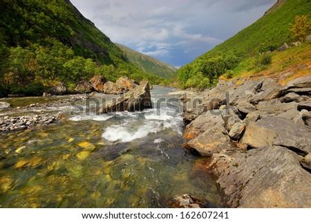 View to mountains in Norway, Lofoten - stock photo