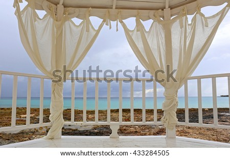 View to ocean from gazebo for weddings. - stock photo