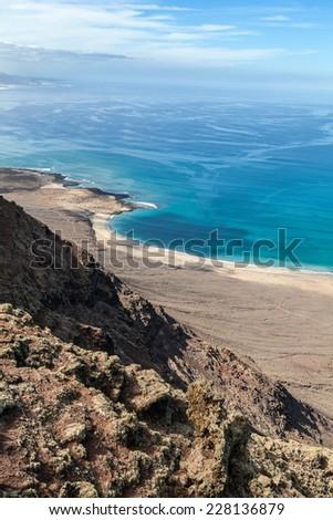 View to ocean from Mirador del Rio. Lanzarote, Canary Islands, Spain. - stock photo