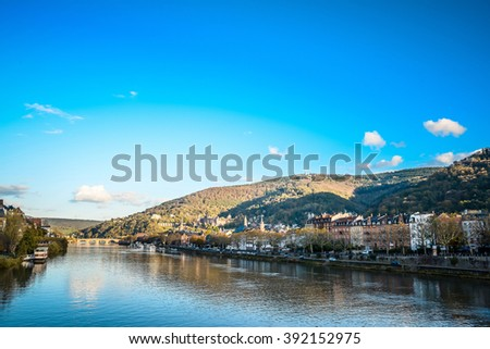 view to old town of Heidelberg, Germany.