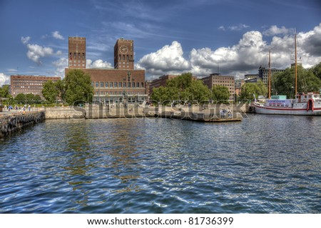View to Oslo, Norway Radhuset (city hall) from the sea (HDR). - stock photo