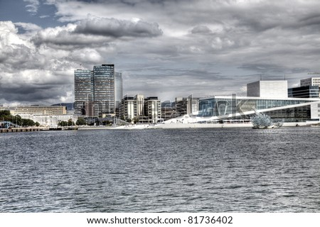 View to Oslo, Norway with Opera house in HDR. - stock photo
