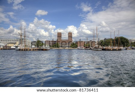 View to Oslo Radhuset (city hall) from sea in HDR. - stock photo