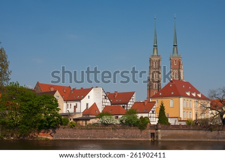View to Ostrow Tumski, Wroclaw, Poland. - stock photo