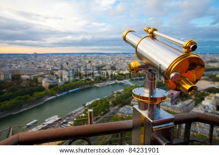 View to Paris and Seine from Eiffel tower - stock photo