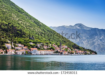 View to Perast town from the sea, Montenegro - stock photo