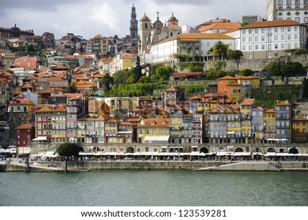 View to Ribeira, old part of Porto with Douro river