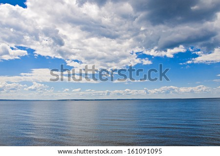 view to river  and blue cloudy sky - stock photo