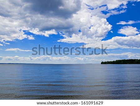 view to river  and blue cloudy sky