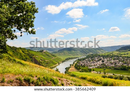 View to river Moselle and Marienburg Castle near village Puenderich - Mosel wine region in Germany - stock photo