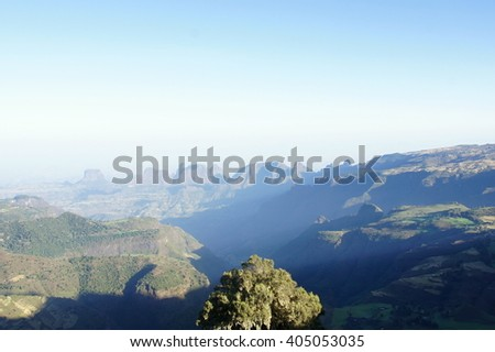 View to Simien mountains, Ethiopia - stock photo