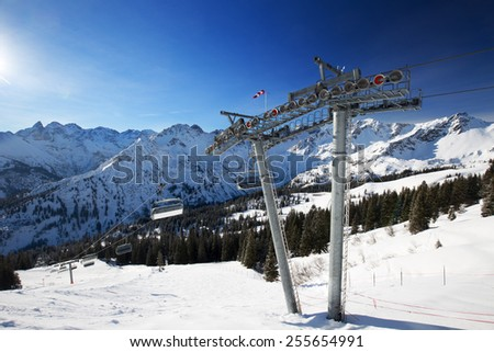 View to Ski slopes and ski chairlifts on the top of Fellhorn Ski resort, Bavarian Alps, Oberstdorf, Germany - stock photo