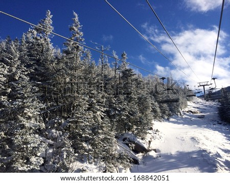 View to ski slopes at Cannon mountain in NH - stock photo