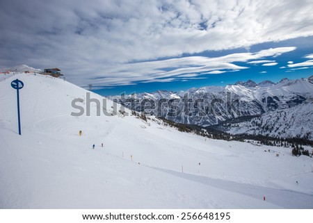 View to Ski slopes with the corduroy pattern and ski chairlifts on the top of Fellhorn Ski resort, Bavarian Alps, Oberstdorf, Germany