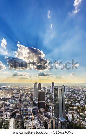 view to skyline of Frankfurt from Maintower in Frankfurt, Germany - stock photo