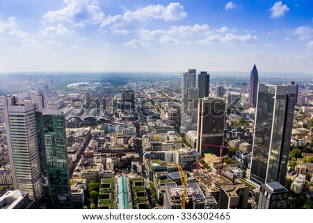 view to skyline of Frankfurt from Maintower in Frankfurt, Germany