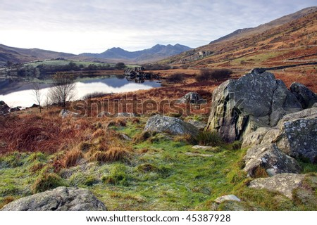 View to Snowdon and the lake with its reflections North Wales