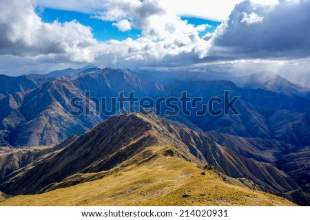 View to Southern Alps from Ben Lomond Track Queenstown New Zealand - stock photo