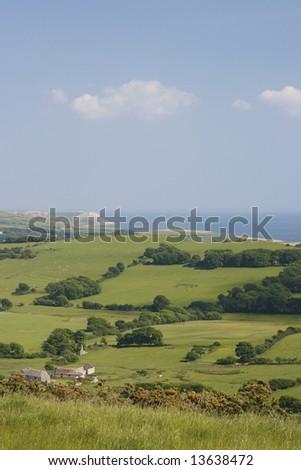 View to St Aldhelm's  Dorset England. - stock photo
